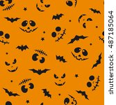 the pattern with muzzles  day... | Shutterstock .eps vector #487185064