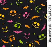 the pattern with muzzles  day... | Shutterstock .eps vector #487185073