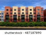modern apartment buildings on a ...   Shutterstock . vector #487187890