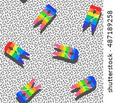 retro erasers in rainbow colors ... | Shutterstock .eps vector #487189258