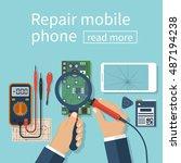 repair mobile phone. vector... | Shutterstock .eps vector #487194238