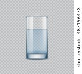 glass cup with water  isolated... | Shutterstock .eps vector #487196473
