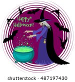 old scary witch cooks a potion... | Shutterstock .eps vector #487197430
