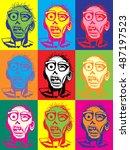 zombie pop art vector... | Shutterstock .eps vector #487197523