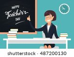happy teacher's day. a kind... | Shutterstock .eps vector #487200130