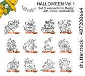 vector set of halloween... | Shutterstock .eps vector #487200664