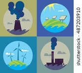 eco energy and air pollution... | Shutterstock .eps vector #487203910