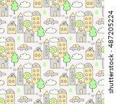 vector seamless pattern with... | Shutterstock .eps vector #487205224