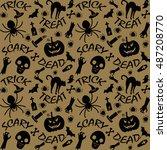 halloween happy party wallpaper ... | Shutterstock .eps vector #487208770