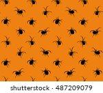 black widow spiders seamless... | Shutterstock .eps vector #487209079