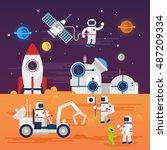 astronauts characters set in...   Shutterstock .eps vector #487209334