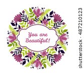 circular floral bouquet. the... | Shutterstock .eps vector #487210123