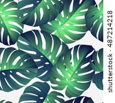 tropical pattern. jungle palm... | Shutterstock .eps vector #487214218