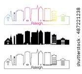 raleigh skyline linear style... | Shutterstock .eps vector #487221238