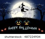 spooky card for halloween. | Shutterstock .eps vector #487224934