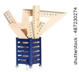 wooden rulers in a support over ... | Shutterstock . vector #487230274