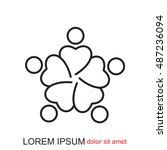 line icon   teamwork | Shutterstock .eps vector #487236094
