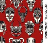 tribal mask seamless pattern... | Shutterstock .eps vector #487237030
