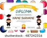 kids diploma certificate... | Shutterstock .eps vector #487242316