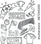 vector  soccer icon set on white | Shutterstock .eps vector #487244200