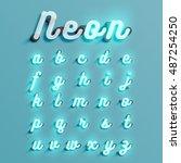 realistic neon character... | Shutterstock .eps vector #487254250