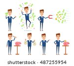 set of businessman characters... | Shutterstock .eps vector #487255954