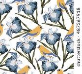 seamless pattern with iris... | Shutterstock .eps vector #487267918