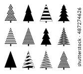 christmas tree set. vector...   Shutterstock .eps vector #487274626
