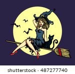 sexy cute pin up girl in witch... | Shutterstock .eps vector #487277740