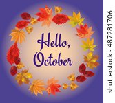 hello  october. template with... | Shutterstock .eps vector #487281706