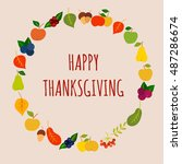 happy thanksgiving vector card... | Shutterstock .eps vector #487286674