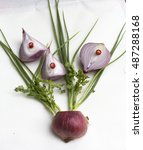 Small photo of Shallot Shallot is a very essential one to eat and cook with a pungent odor is as beautiful as a heart tonic herb used to cure poison poisonous animal bites,have anti-cancer, asthma, cold.