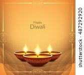 artistic happy diwali... | Shutterstock .eps vector #487292920
