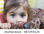 portrait of cute sad little girl | Shutterstock . vector #487293124