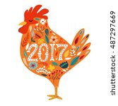 colorful poster of a rooster...   Shutterstock .eps vector #487297669