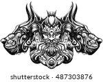 quiet huntsman with dogs | Shutterstock .eps vector #487303876