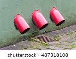 rainwater drain. old red gutter ... | Shutterstock . vector #487318108