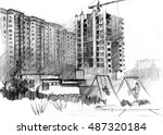hand drawn artwork  building... | Shutterstock . vector #487320184