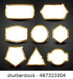 vector gold frames isolated on... | Shutterstock .eps vector #487323304