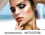beauty fashion woman lips with... | Shutterstock . vector #487325338