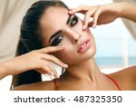 winking sensual model girl... | Shutterstock . vector #487325350