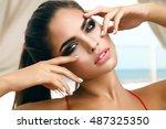 winking sensual model girl... | Shutterstock . vector #487325350