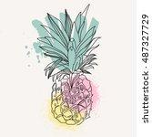 vector image of pineapple fruit ... | Shutterstock .eps vector #487327729