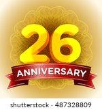 26th anniversary   Shutterstock .eps vector #487328809