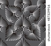 elegant grey abstract floral... | Shutterstock .eps vector #487329916