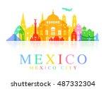 mexico travel landmarks. vector ...   Shutterstock .eps vector #487332304