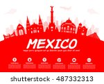 mexico travel landmarks. vector ... | Shutterstock .eps vector #487332313