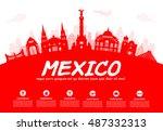 mexico travel landmarks. vector ... | Shutterstock .eps vector #487332313