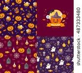 halloween seamless pattern set. ... | Shutterstock .eps vector #487333480