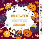 halloween background. place for ... | Shutterstock .eps vector #487333486